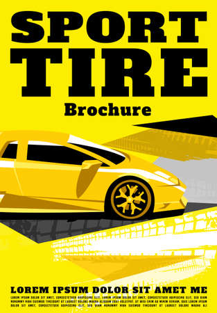 Vector automotive brochure cover template. Modern tire background for portrait poster, digital banner, flyer, print, commercial and web design. Editable graphic image in black, yellow, grey colors