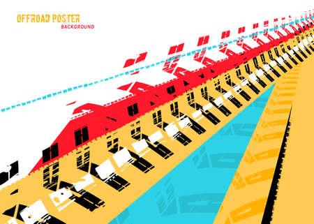Vector automotive banners template. Grunge tire tracks backgrounds for landscape poster, digital banner, flyer, booklet, brochure and web design. Editable image in red, blue, black, yellow colors Ilustração