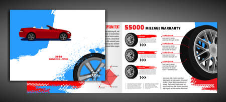 Vector automotive brochure template. Grunge tire tracks backgrounds for portrait poster, digital banner, flyer, booklet, banner and web design. Editable graphic image in white, blue, red colors