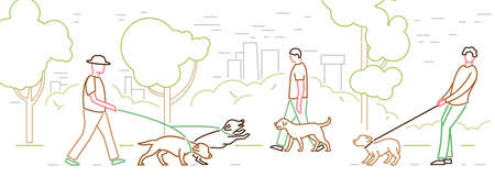 Walking the dog in a park. Aggressive reaction. Doggy behavior image. Pulling a leash. Domestic animal or pet body language. Editable vector illustration in a simple style isolated on white background Ilustração