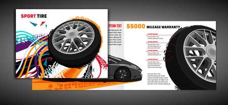Vector automotive brochure template. Grunge tire tracks backgrounds for landscape poster, digital banner, flyer, booklet, banner and web design. Editable graphic image in bright modern colors Ilustração