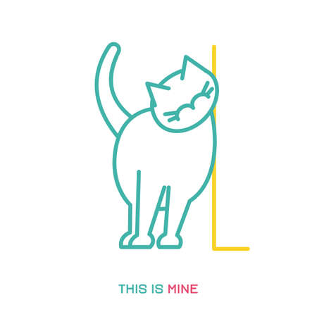 Naughty cat marking a territory. Natural behavior of domestic animal or pet. Funny scene. Cartoon character. Simple icon, sign. Colorful vector illustration isolated on white background