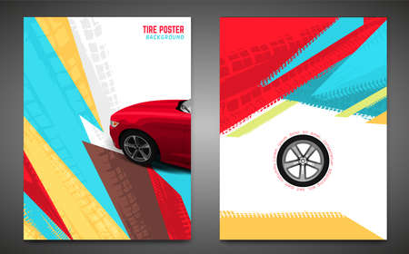 Vector automotive banner template. Grunge tire tracks background for vertical poster, digital banner, flyer, booklet, brochure, web design. Editable graphic image in red, yellow, blue colors