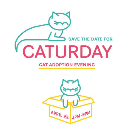 Save the date for Caturday. Cat adoption event invitation card. Help animals concept. Editable vector illustration isolated on a white background. Poster, leaflet, advertising template.