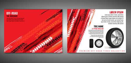 Vector automotive brochure template. Grunge tire tracks backgrounds for landscape poster, digital banner, flyer, booklet, banner and web design. Editable graphic image in black, red, white colors