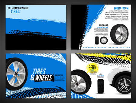 Vector automotive brochure template. Grunge tire tracks backgrounds for landscape poster, digital banner, flyer, booklet, banner and web design. Editable graphic image in black, blue, yellow colors