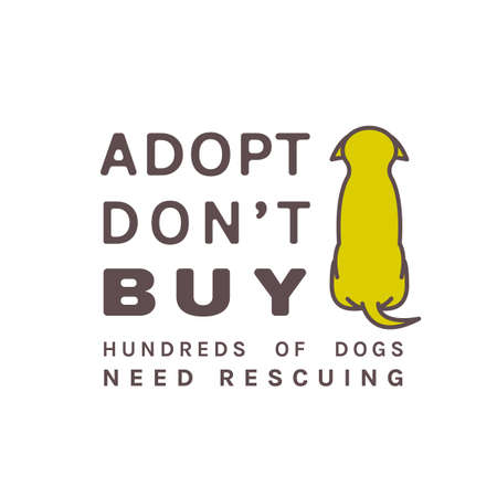 Adopt do not buy. Dog adoption event poster. Lonely puppy waiting for an owner. Rescuing concept. Editable vector illustration in brown, green colors isolated on a white background. Charity advert.