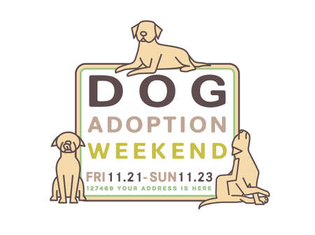 Adopt do not buy. Dog adoption weekend poster. Lonely puppies waiting for an owner. Rescuing concept. Editable vector illustration in brown, green colors isolated on a white background. Charity event Ilustração