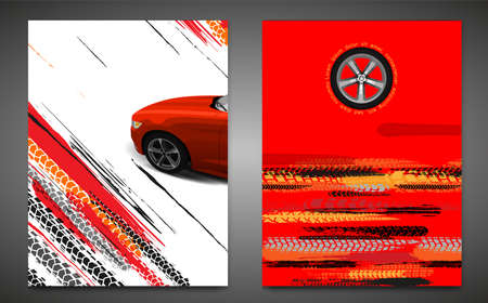 Vector automotive banner template. Grunge tire tracks background for vertical poster, digital banner, flyer, booklet, brochure, web design. Editable graphic image in red, yellow, black colors