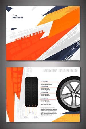 Vector automotive brochure template. Grunge tire tracks backgrounds for landscape poster, digital banner, flyer, booklet, banner and web design. Editable graphic image in black, orange, grey colors