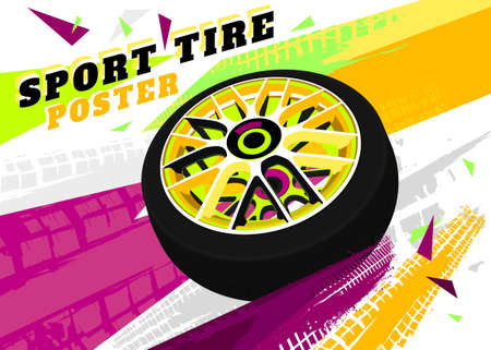 Vector automotive brochure cover template. Modern tire background for landscape poster, digital banner, flyer, print, commercial and web design. Editable graphic image in green, yellow, magenta colors
