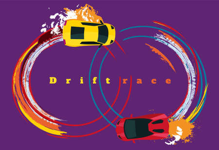 Drifting car top view. Beautiful editable vector illustration in unique style. Automotive isolated image in violet, blue, red, yellow colors useful for poster, banner, print and leaflet graphic design