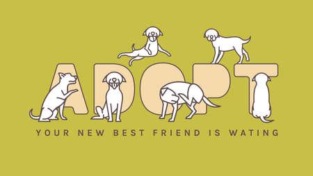 Dog Adoption Event Poster Reklamní fotografie - 138351877
