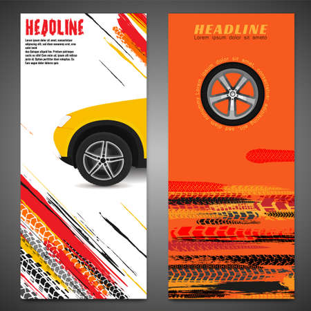 Vector automotive banner template. Grunge tire tracks background for vertical poster, digital banner, flyer, booklet, brochure, web design. Editable graphic image in black, red, yellow colors