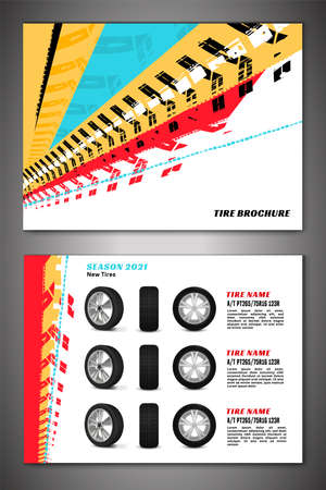 Vector automotive banners template. Grunge tire tracks backgrounds for landscape poster, digital banner, flyer, booklet, brochure, web design. Editable graphic image in black, red, yellow, blue colors