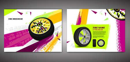 Vector automotive brochure template. Grunge tire tracks backgrounds for landscape poster, digital banner, flyer, booklet, banner and web design. Editable graphic image in green, red, orange colors