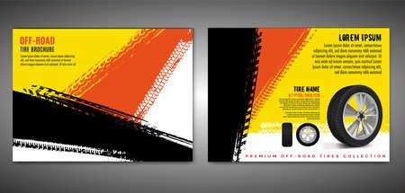 Vector automotive brochure template. Grunge tire tracks backgrounds for landscape poster, digital banner, flyer, booklet, banner and web design. Editable graphic image in black, red, orange colors Illustration