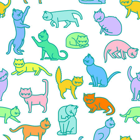 Cat seamless pattern in a simple style. Domestic animal, pet language. Happy playful kittens. Kitty reaction. Trendy fabric, textile, texture, wallpaper. Vector illustration on white background