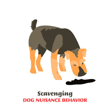 Dog behavior problem icon. Domestic animal or pet language. Scavenging terrier. Eating everything. Doggy reaction. Simple icon, symbol, sign. Editable vector illustration isolated on white background