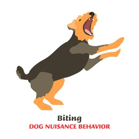 Dog behavior problem icon. Domestic animal or pet language. Aggressive dog. Bitting. Doggy reaction. Simple icon, symbol, sign. Editable vector illustration isolated on white background