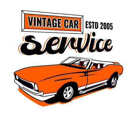 Retro car service sign. Vintage vehicle repairing workshop. Racing garage. Automotive icon. American advertising style. Editable illustration isolated on a white background. Transportation concept