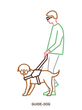 Guide dog with harness helping a disabled blind man. Support, assistance animal. Physically handicapped person. Simple icon, symbol, pictogram, sign. Vector illustration isolated on white background. Vectores