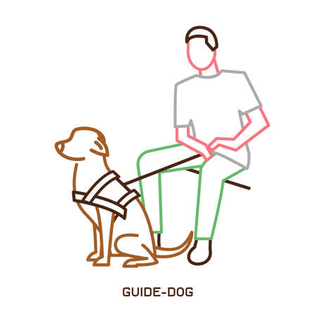 Guide dog with harness helping a disabled blind man. Support, assistance animal. Physically handicapped person. Simple icon, symbol, pictogram, sign. Vector illustration isolated on white background. 일러스트