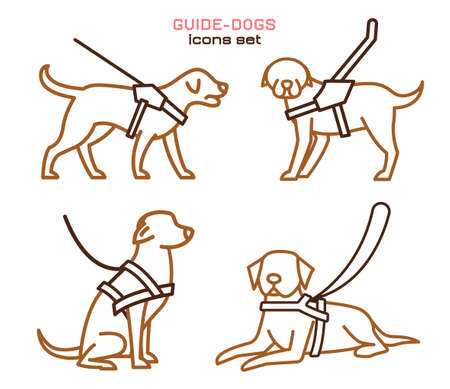 Guide dogs with harness. Mobility aid. Support, assistance, service animal. Guide-dog training. Simple icon, symbol, pictogram, sign. Vector illustration isolated on white background. Ilustração
