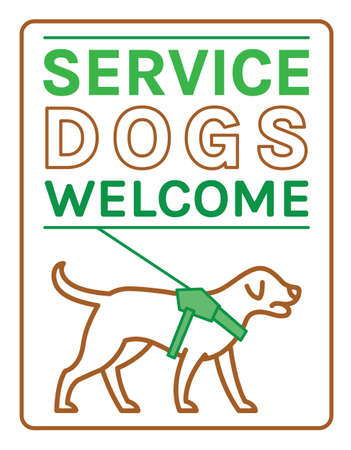 Guide dogs welcome sign. Support, assistance animal. Physically handicapped people. Simple icon, symbol, pictogram. Vector illustration in green and brown colors isolated on white background.