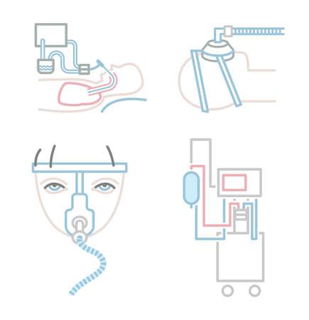 Lung ventilation icons set Vectores