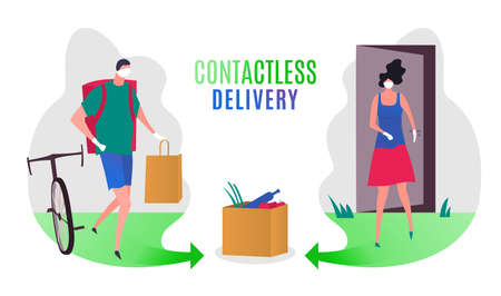 Safe contactless delivery image. Epidemic infection prevention concept. Stay home in quarantine. Fast courier service. Horizontal poster. Editable vector illustration in bright colors Illustration