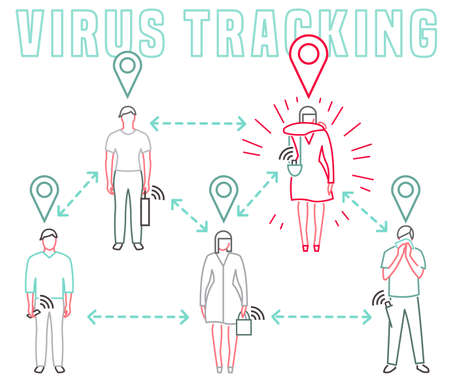 Virus tracking location application. Coronavirus prevention. Pneumonia disease. Live statistics concept. Emergency project. Editable vector illustration in simple style isolated on white background