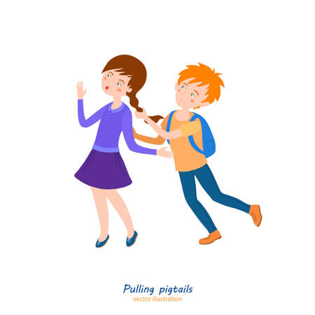 Boy in love. Teenager behavior concept. School bullying. Pigtails pulling. Editable vector illustration in bright cartoon style isolated on white background.
