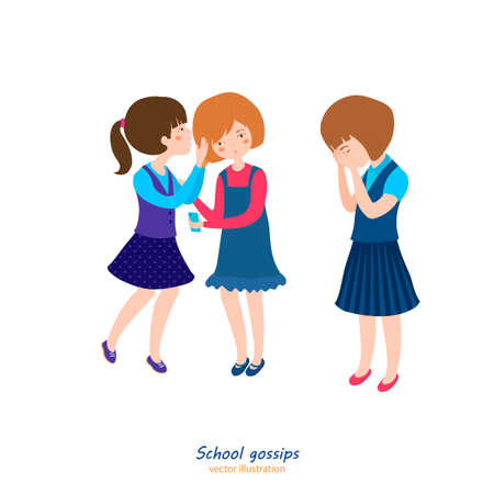 Girls gossiping. Teenager behavior concept. School relationships. Best friends. Editable vector illustration in bright cartoon style isolated on white background.