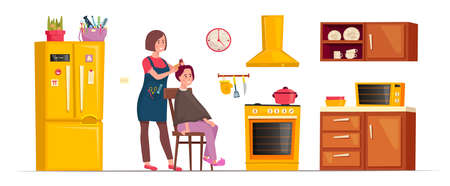 Mobile hairdresser cutting the hair of her smiling client sitting on a chair in her kitchen. On demand beauty. Editable vector illustration in a flat cartoon style isolated on white background. Vectores
