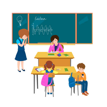 Children in classroom. Hard lesson. Normal situation from childhood. Group communication. Teenager behavior concept. Vector illustration in flat cartoon style isolated on white background
