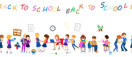back to school cartoon seamless pattern