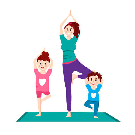 Family making yoga exercises. Time to yourself and take care of yourself. Healthcare, fitness workout, beauty concept. Editable vector illustration in a flat cartoon style isolated on white background Illustration