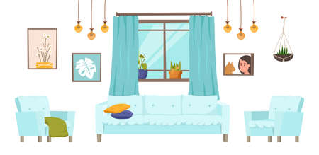 Drawing-room furniture collection. Modern household set with decoration details. Editable vector illustration in a flat cartoon style isolated on white background. Living, lifestyle, interior concept 일러스트