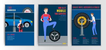 Vector automotive brochure template. Mobile tire service backgrounds for portrait poster, digital banner, flyer, booklet, leaflet, web, corporate design. Editable graphic image in flat cartoon style Banque d'images - 151586709