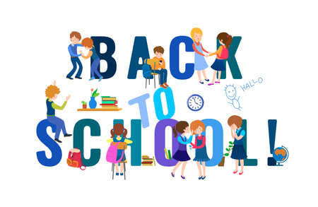 Back to school unique lettering. September graphic. First day of studing. Children in classroom. Cartoon style. Editable vector illustration in bright colors isolated on a white background.