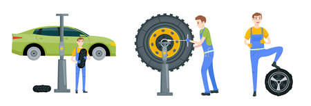 Mechanic in a garage set. Wheels and tyre fitting service. Transportation, tire repair, computerized balancing collection. Editable vector illustration in flat cartoon style isolated on white background