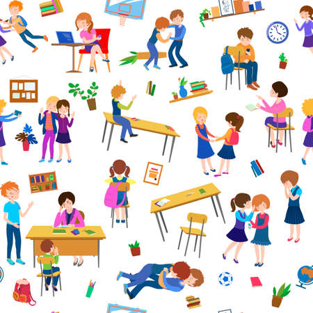 school cartoon pattern