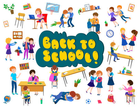 Back to school cartoon poster Banque d'images - 152328616
