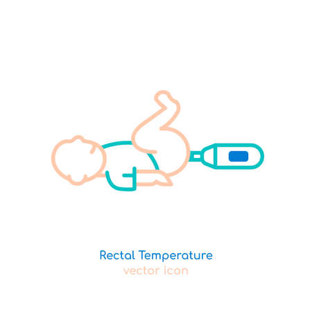 Child rectal temperature Illustration