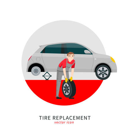 Tire replacement icon Banque d'images - 153262178