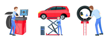 Mechanic in a garage set Illustration