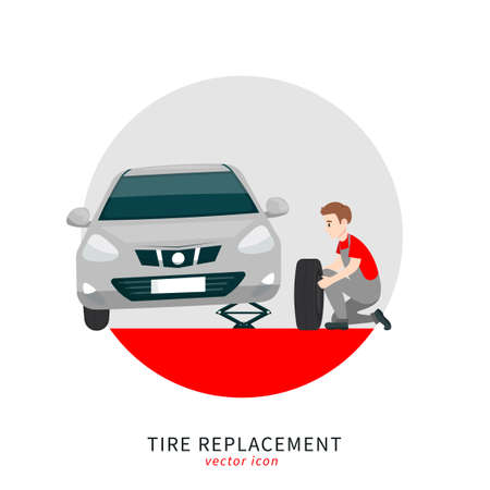 Tire replacement icon Banque d'images - 152486543