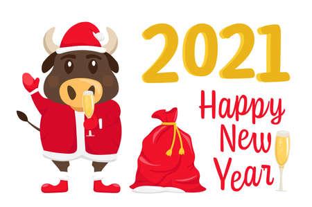 Santa bull Postcard Banque d'images - 153262180