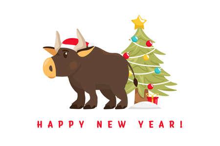 Santa bull Postcard Banque d'images - 153262183